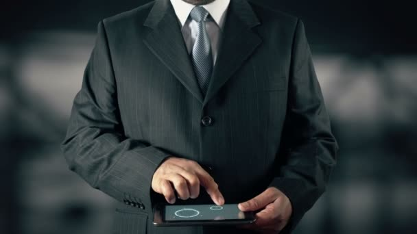 Businessman with Business Ethics hologram concept choose Responsibility from words