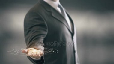 Optimize with hologram businessman concept