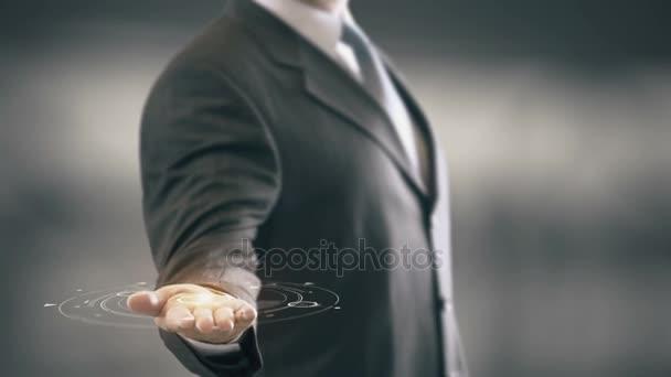 CTA s hologramem podnikatel koncept