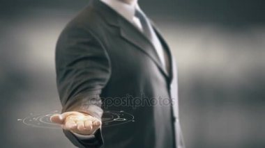 Business-To-Government with hologram businessman concept