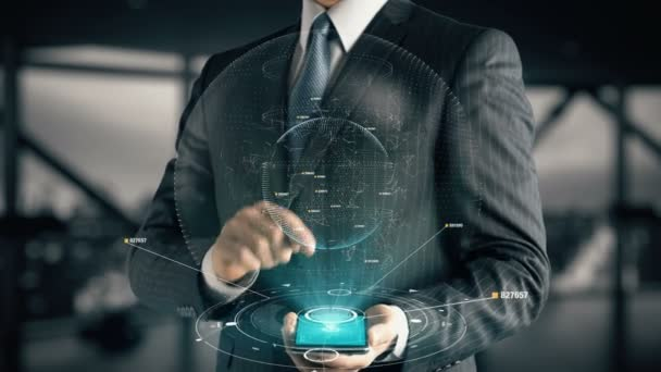 Podnikatel s konceptem hologram webové reklamy