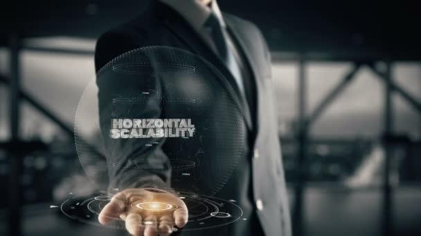 Horizontal Scalability with hologram businessman concept