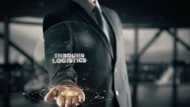 Inbound Logistics with hologram businessman concept