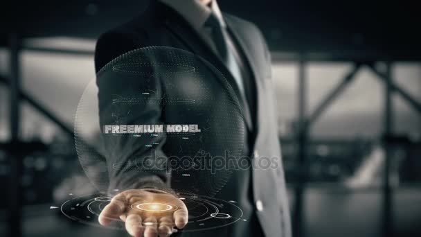 Freemium Model with hologram businessman concept