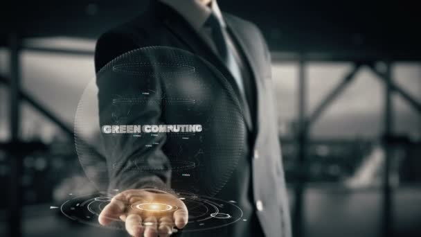Green Computing with hologram businessman concept