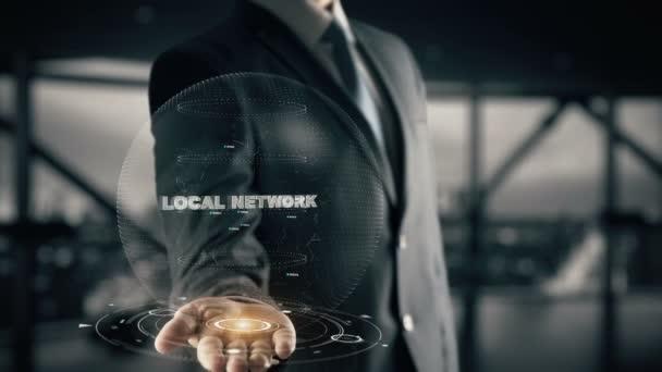 lokales Netzwerk mit Hologramm-Geschäftsmann-Konzept