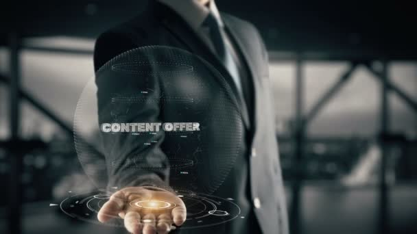 Content Offer with hologram businessman concept
