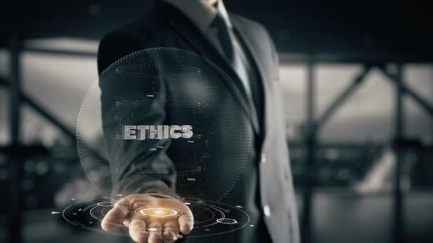 Ethics with hologram businessman concept