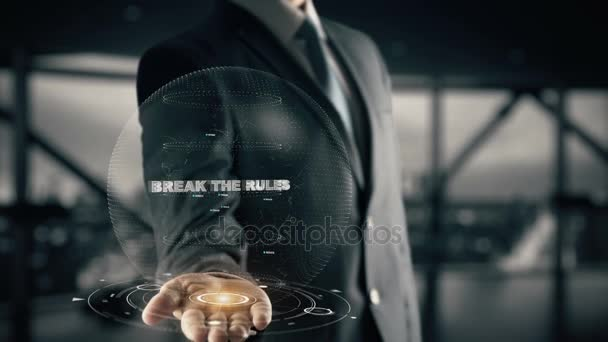 Break the Rules with hologram businessman concept