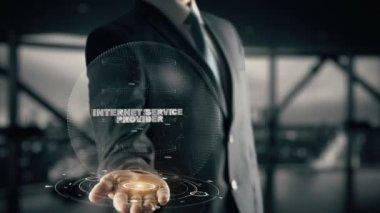 Internet Service Provider with hologram businessman concept