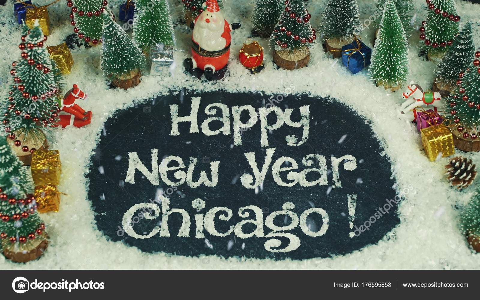 stop motion animation of happy new year chicago stock photo