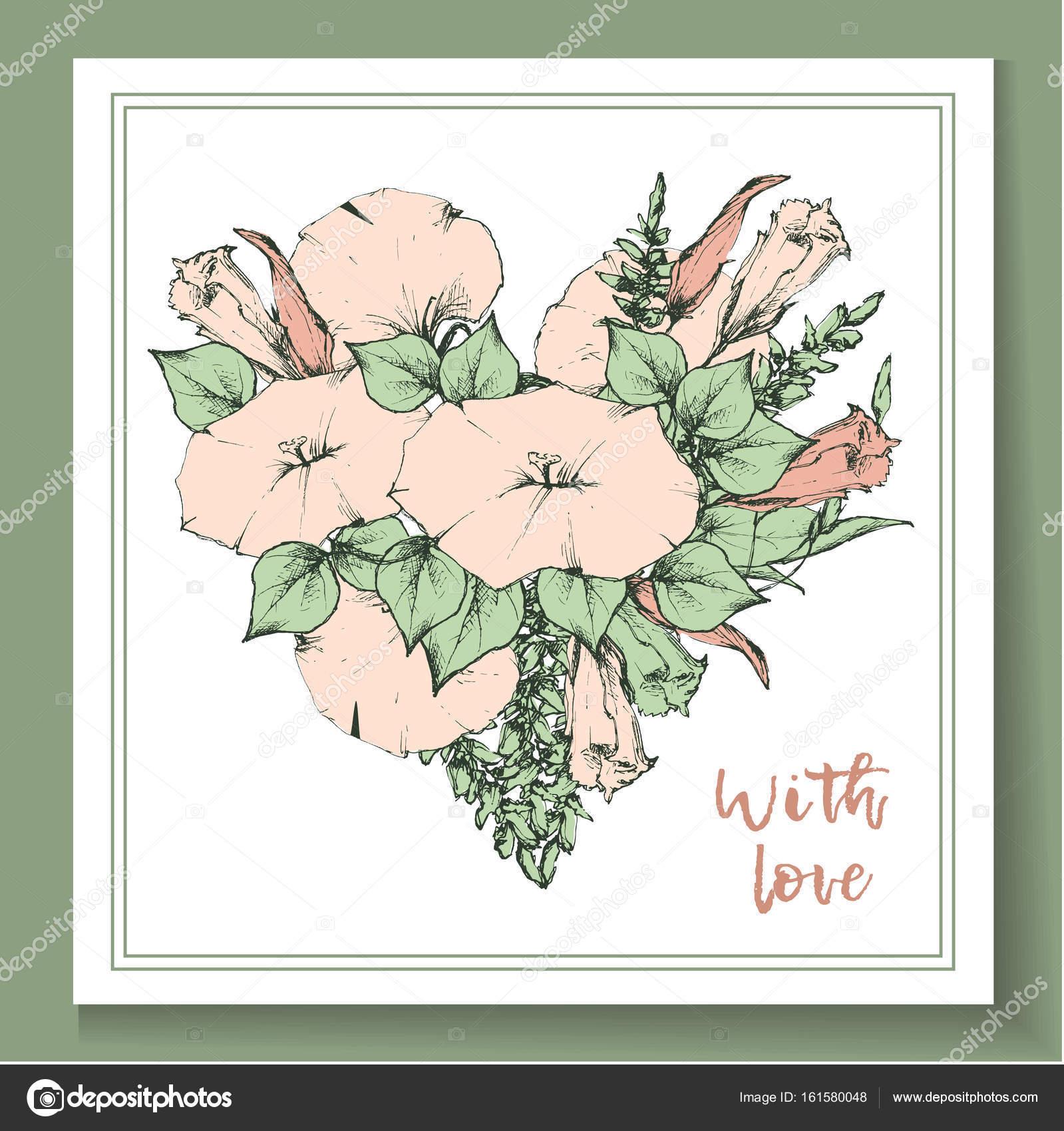 Carte Postale Vintage Retro Ou De Visite Avec Liseron Fleur Illustration Stock