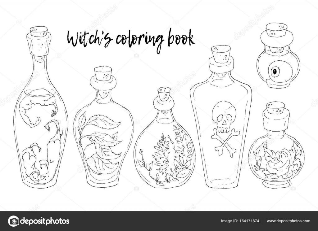 Ilustración de vector. Halloween. Las bruja s caldero, cráneo, hojas ...