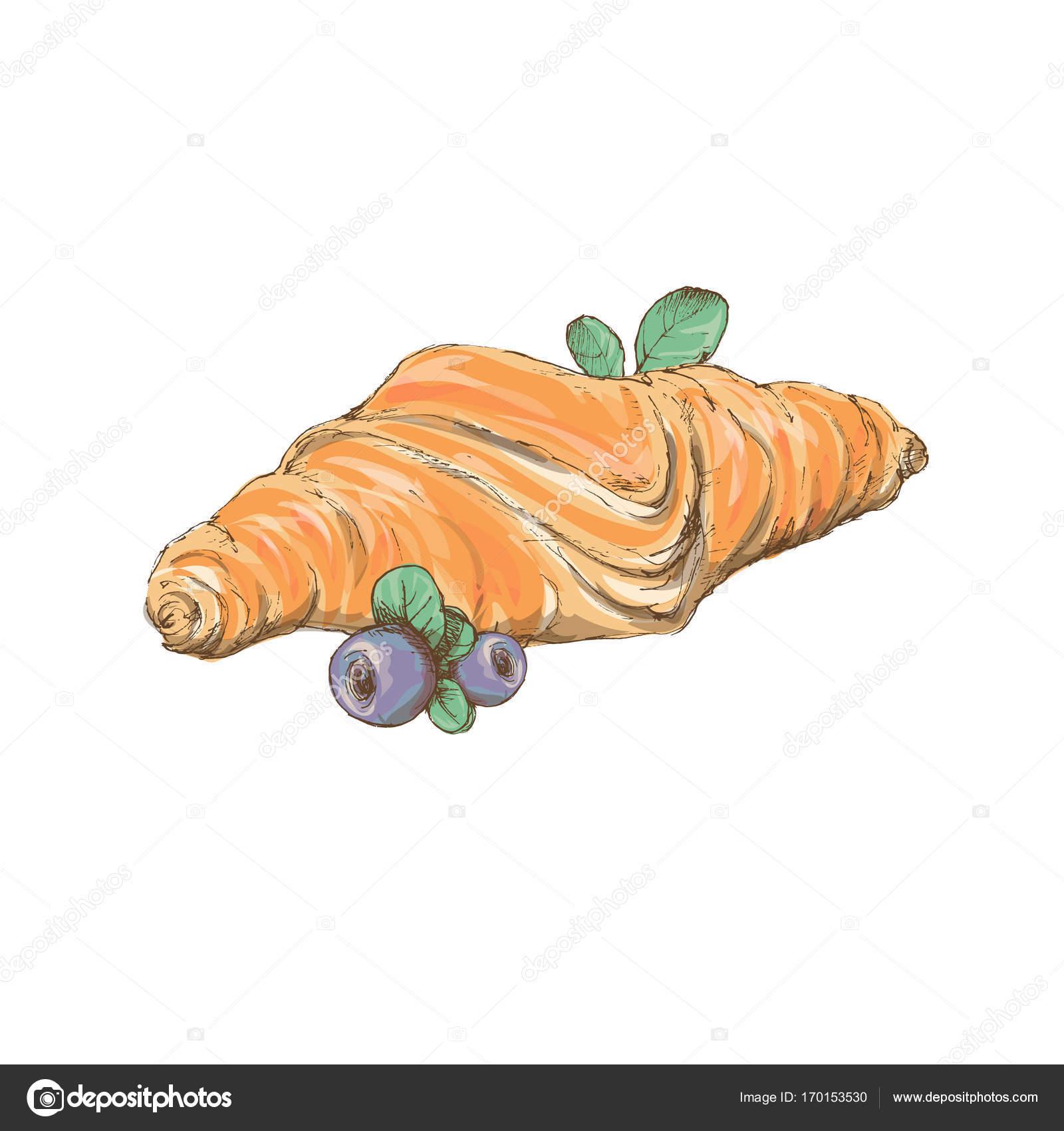 Deux Croissants Cuire Une Pate Feuilletee Design Plat De Couleur Sur