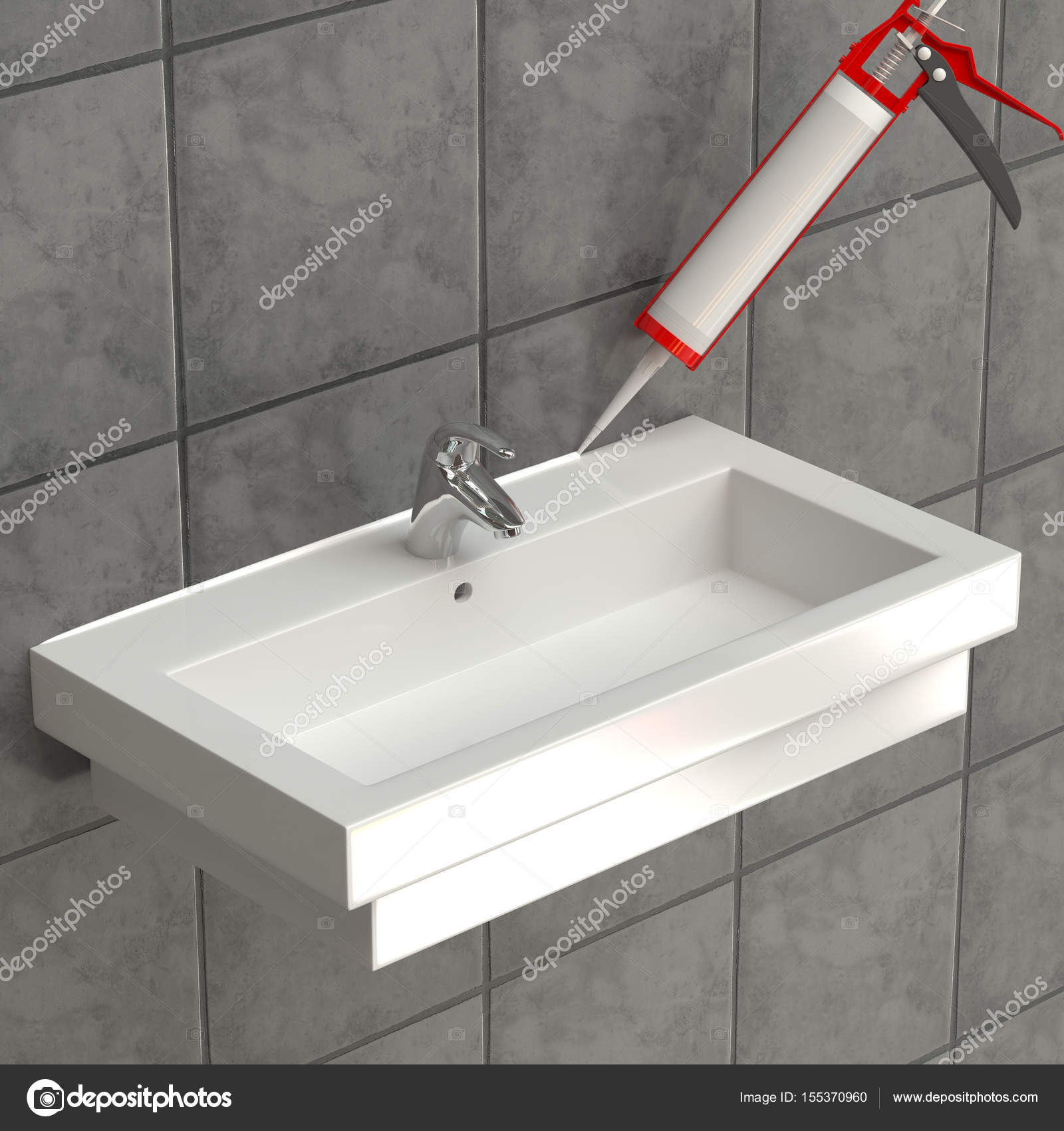 The sealant is applied to the washbasin — Stock Photo © coldlykoss ...