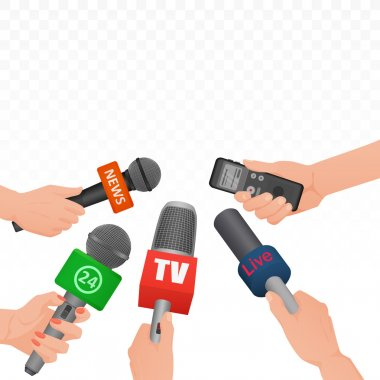 Interview news microphones and voice recorder in hands of reporters journalist press conference. Hot news banner template poster.