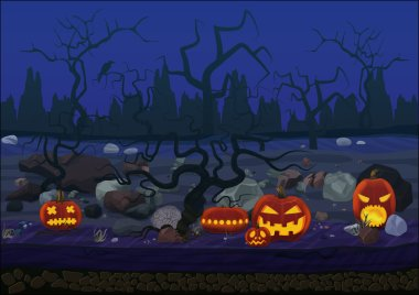 Midnight scary horror halloween background with pumpkin and trees.