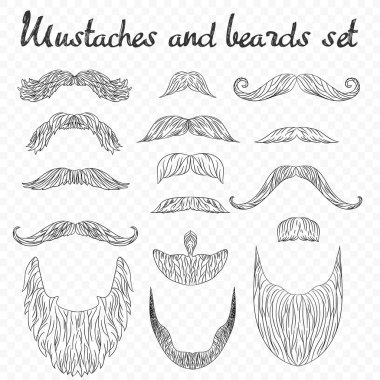 Man hair, mustache, beards collection isolated on transperant alpha background. Hipster high detailed retro fashion elements. in outline line drawing style.