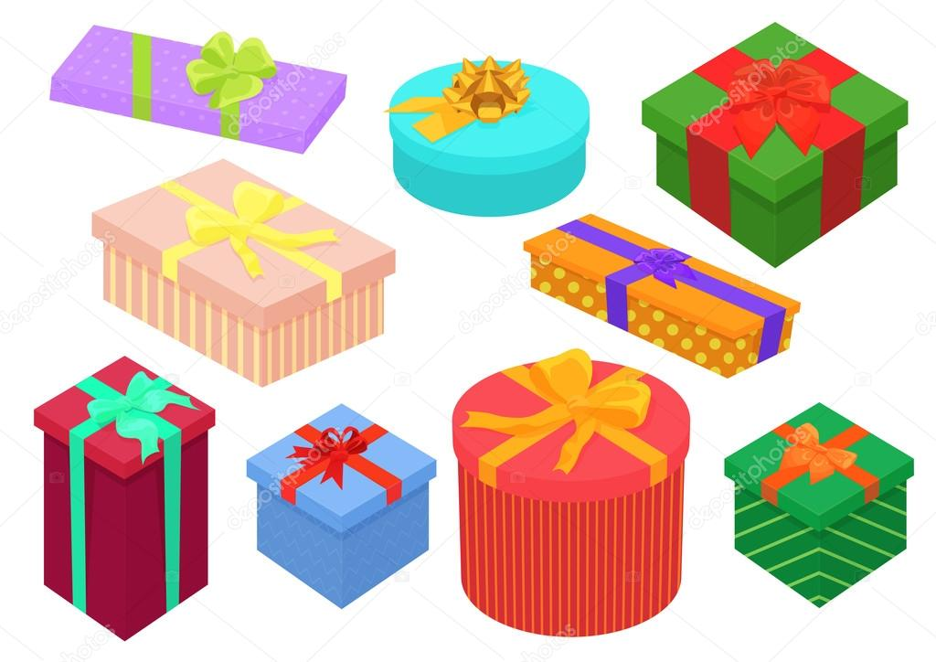 Flat design isometric gifts boxes set bright colorful present and flat design isometric gifts boxes set bright colorful present and gift boxes with ribbon bows birthday and christmas collection lembergvector negle Gallery
