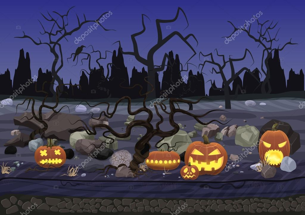 Dark night scary horror halloween background with pumpkin and trees.