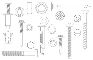 Construction Hardware set Bolts, Screws, Nuts and Rivets. vector illustration of outline line Metal fix gear elements.