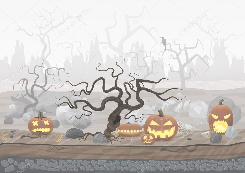Fog day scary horror halloween background with pumpkin and trees.