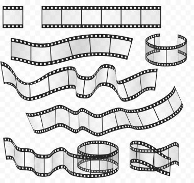 Vector media film strips roll set. Negative and strip film 35mm.
