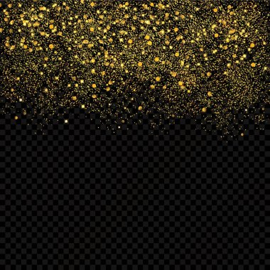 Gold sparkles confetti. Gold glitter abstract background. Luxury golden festive confetti pieces on the transperant background.