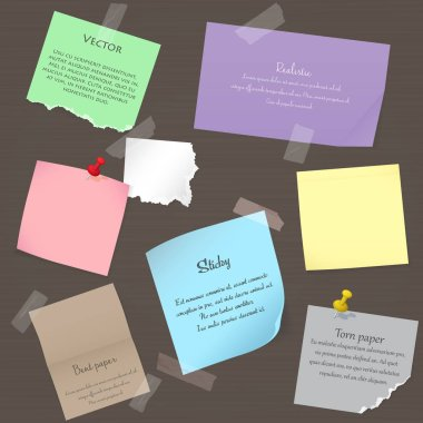 Set of paper banner notes stickers. Pieces of torn colorful blank note color paper. Various color paper sheets, note paper stuck by sticky tape.