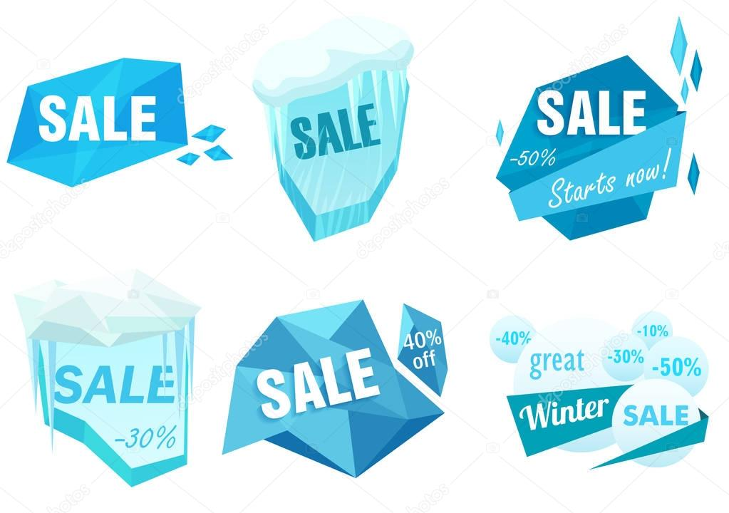 Winter Ice Sale Set Snow Cold Sale Banner Template Christmas