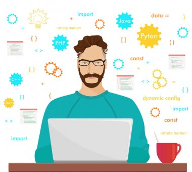 Man programmer hipster is working coding and programming on his laptop. Programmer php code occupation concept.