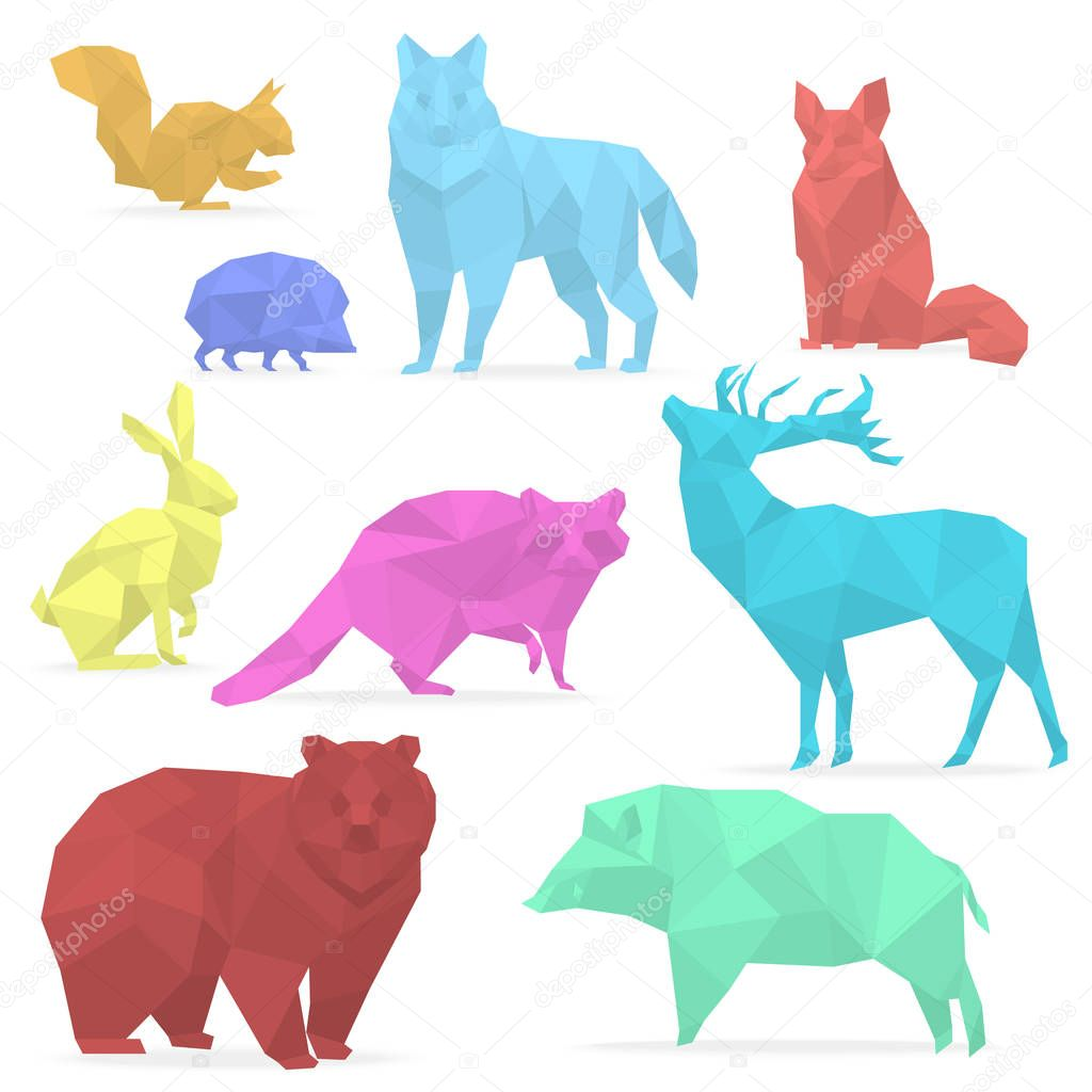 Animaux Low Poly Animaux En Papier Origami Loup Ours Chevreuil