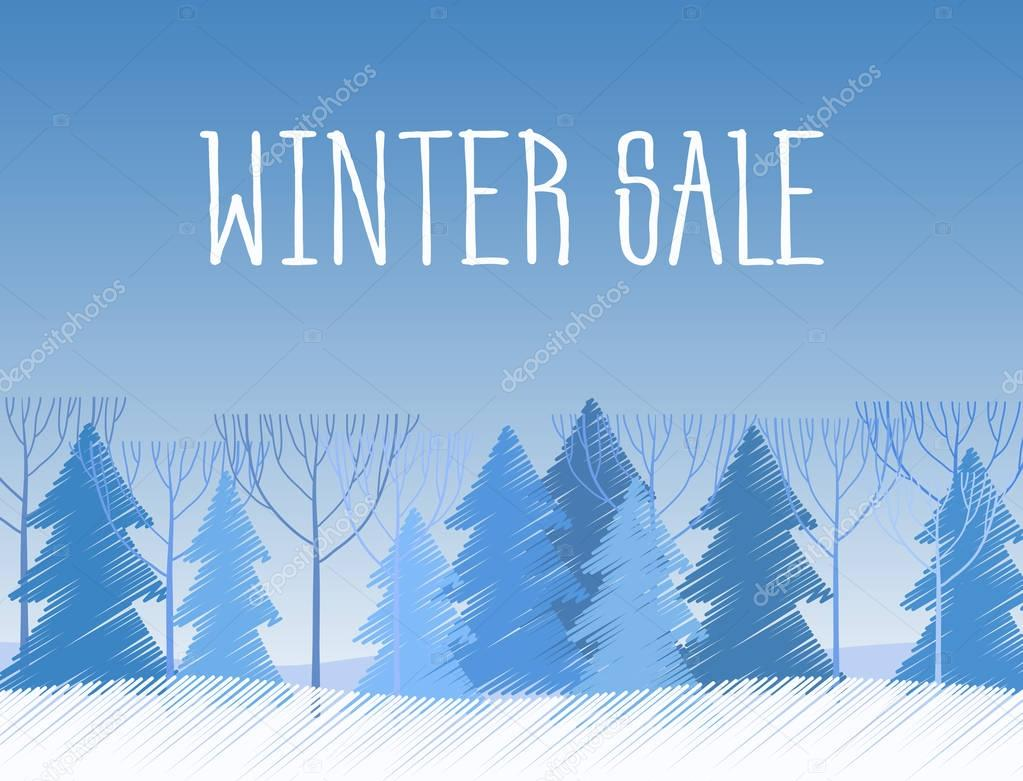 Winter sale words on the beautiful Chrismas flat winter landscape with tree background. Paint sketch drawing.