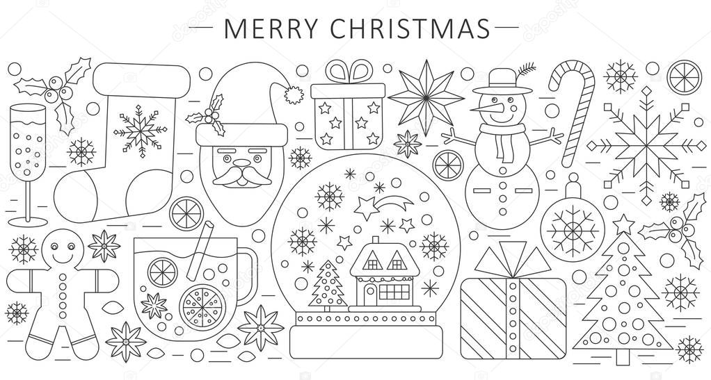 Vector Elegant Thin Outline Line Christmas And Happy New Year - Unique outline template for presentation concept