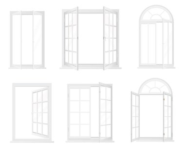 Different types of windows. Realistic decorative windows icons set.