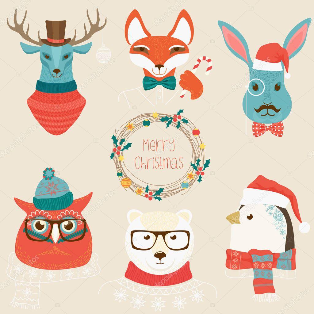 クリスマスのかわいい森の動物ヘッドのロゴを設定します。服のベクトル