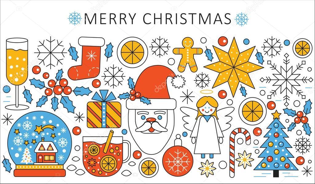 Vector elegante línea plana Navidad y feliz año nuevo concepto del ...