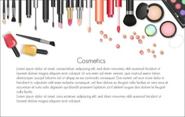 Beauty cosmetics Makeup with cosmetic tools. Colorful cosmetics background, brushes and other essentials clip art vector