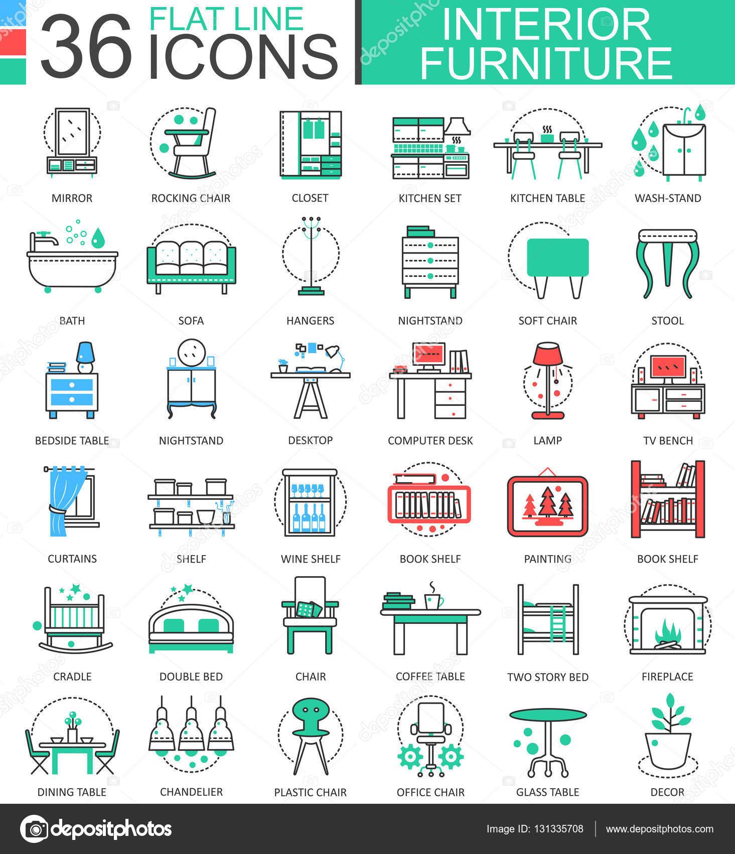 Vector De Interiores Muebles L Nea Plana Contorno Los Iconos De  ~ Aplicaciones De Diseño De Interiores