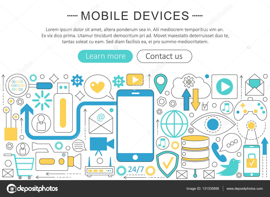 Vector modern line flat design Mobile devices, gadgets