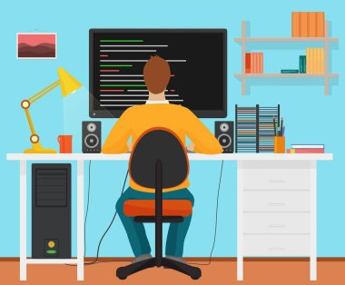 Man programmer back working on his PC computer. Coding and programming. Office interior programmer.