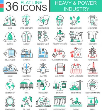 Vector Heavy and power industry flat line outline icons for apps and web design. Heavy power industry high technology icons.