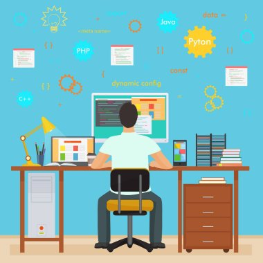 Man programmer back working on his PC computer. Programming and Coding. Office interior programmer with icons.