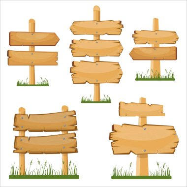 Wooden sign boards set. Vector cartoon wooden sign board on the grass.
