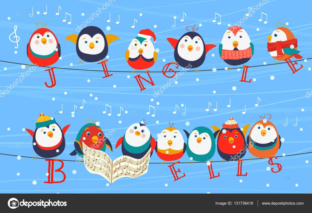 Christmas birds on wires greetings card christmas birds holding christmas birds on wires greetings card christmas birds holding jingle bells words happy new year vector by lembergvector kristyandbryce Choice Image