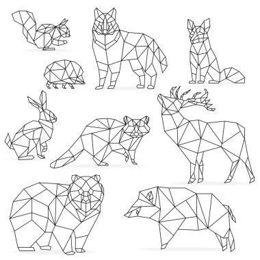 Low poly line animals set. Origami poligonal line animals. Wolf bear deer wild boar fox raccoon rabbit hedgehog.