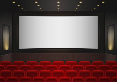 Interior of a cinema movie theatre. Red cinema or theater seats in front of white blank screen. Empty Cinema auditorium background vector illustration.