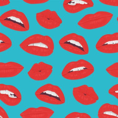 Vintage red lips kiss seamless pattern on the blue background. Passion kiss lips.