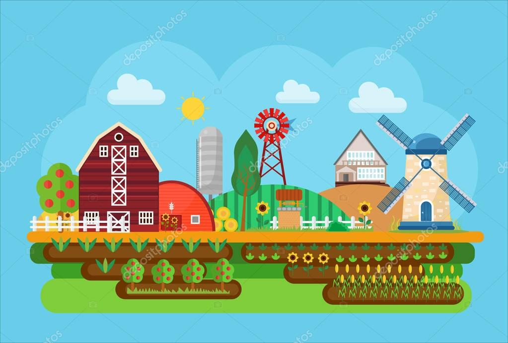 Vector agricultural village landscape flat concept illustration. Little agriculture town.