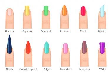 Nails shape icons set. Types of fashion bright colour nail shapes collection. Fashion nails type trends. Beauty spa salon colorful woman fingernails set.